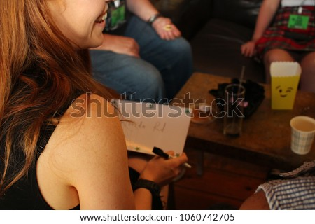 Girl playing quiz night