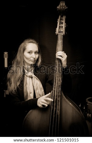 girl playing the double-bass