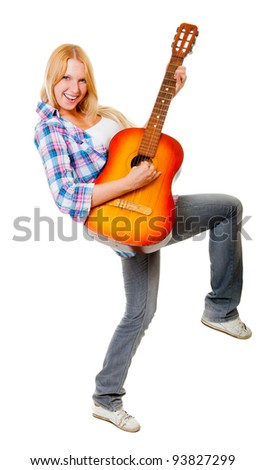 Girl playing the guitar isolated over white