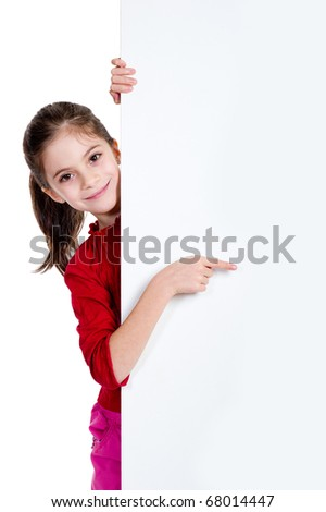 girl pointing finger on holding empty board