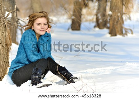 girl portrait and winter scene