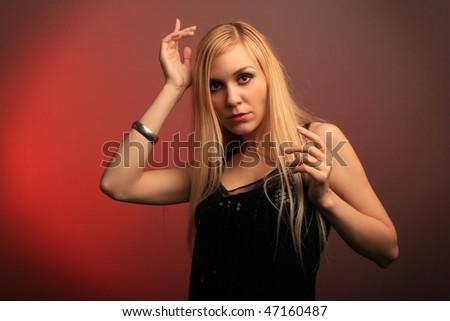 Girl portrait in black dress - stock photo