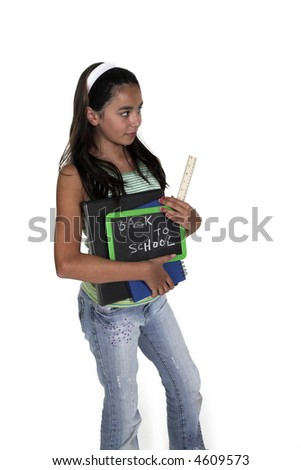 girl posing for back to school theme over white background