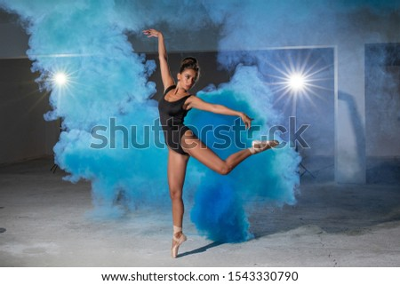 Girl posing in bodysuit and Pointe shoes in smoke #1543330790
