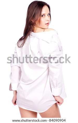 girl posing in man shirt
