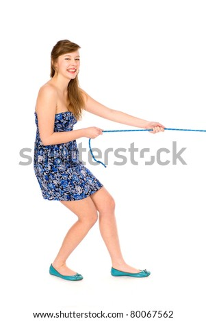 Girl pulling a rope