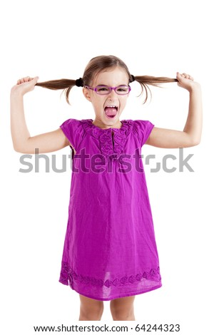 Girl pulling her hair out, isolated on white background - stock photo