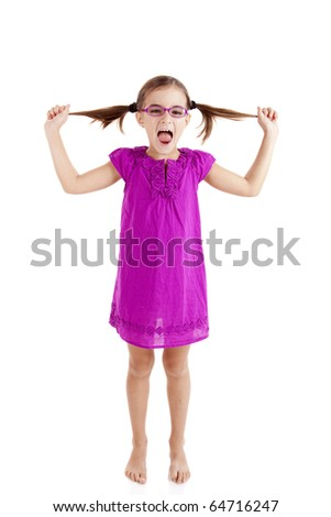 Girl pulling her hair out, isolated on white background