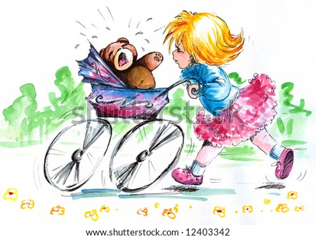 Girl pushing pram with crying teddy-bear. Picture I have painted myself with watercolors.