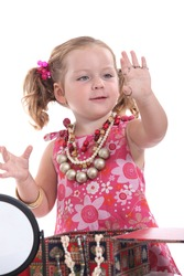 Girl putting on jewellery