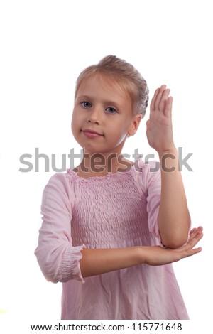 Girl Raises Her Hand