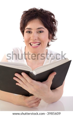 girl reading a book, could be used for education and hobby concept