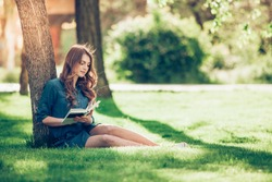 Girl reading a book in park, woman, green