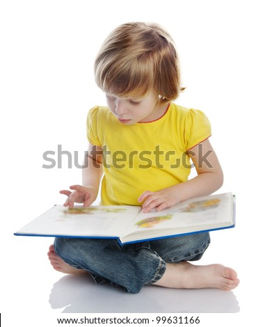 girl reading a book. isolated on white background