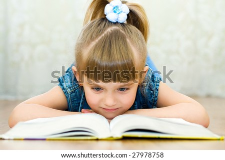 girl reads book - stock photo