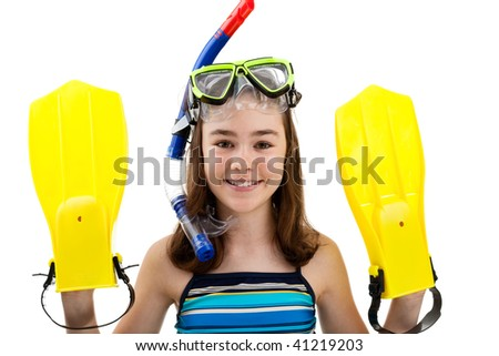 Girl ready to swim and dive isolated on white background
