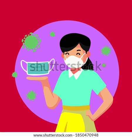 Girl recommending use of mask to protect yourself Foto stock ©