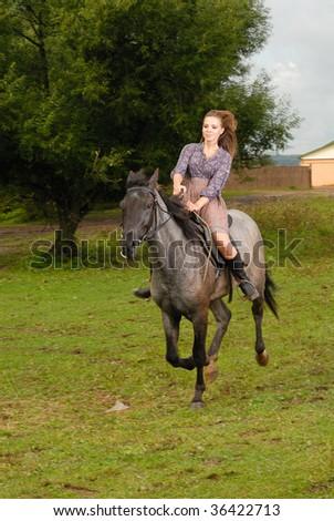 Girl Riding Horse Stock Photo 36422713 : Shutterstock