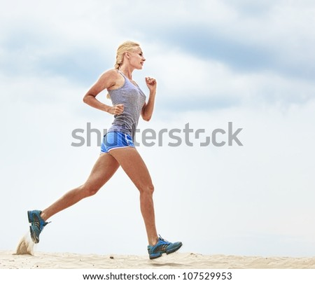 girl runs - stock photo
