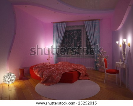 Girl`S Bedroom Interior (3d Rendering) Stock Photo 2525