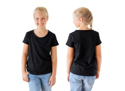 Girl's black t-shirt mockup template, front and back