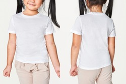 Girl's casual in white tee front and back