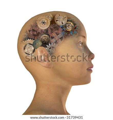 girl's head with gears