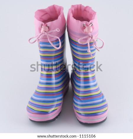 Girl's striped wellingtons