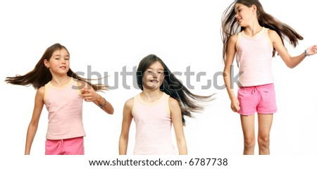 Girl's teenager with long hairs on white background.