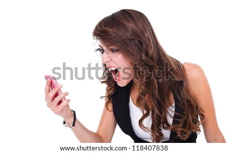 Girl screaming to mobile phone, white background