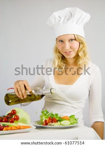 girl seasoned salad