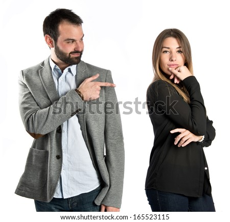 Girl seducing a men over white background