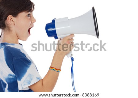 girl shouting through megaphone over white background