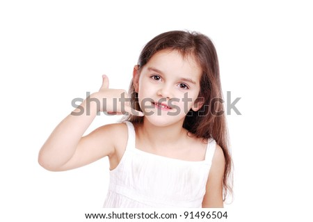 Girl showing call me sign with her hand
