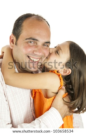 girl showing her love to her father