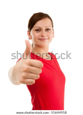 Girl showing OK sign isolated on white background