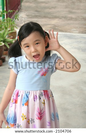 Girl showing surprised and shocked face expression