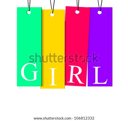 Girl sign on colorful paper tag isolated on white background