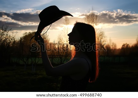 girl silhouette cowboy
