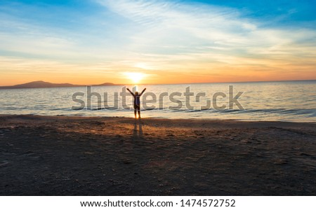 girl silhouette near sea at sunset #1474572752
