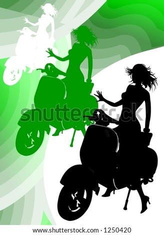 Girl Silhouette Riding Vespa