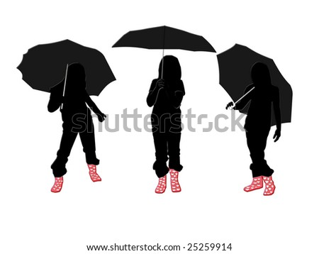 Stock photo girl silhouette with umbrella 25259914