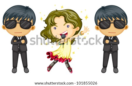 Girl singing with body guards on white - EPS VECTOR format also available in my portfolio.