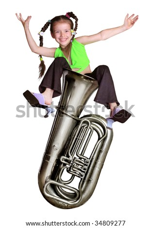 girl sitting on a musical trumpet