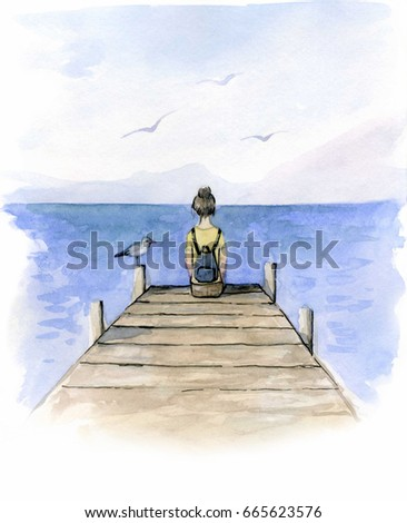 Girl sitting on the dock watercolor