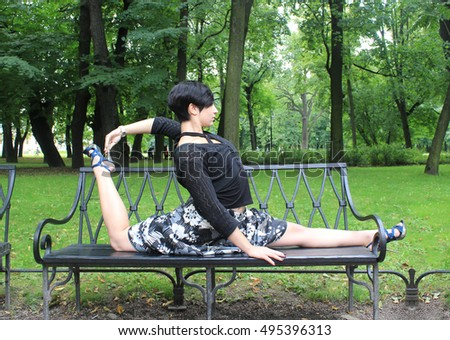 """girl sitting on twine. fitness and health. great body. yoga outdoors healthy lifestyle healthy life healthy people healthy woman health health health health"""" health"""" health"""" health"""" fitness fitness #495396313"""