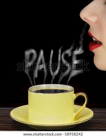 girl smells coffee during a break