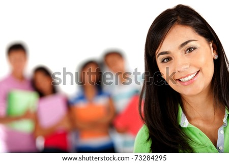 Girl smiling with a group behind her � isolated over white