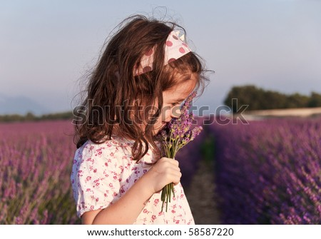 Girl sniffing lavender flowers in a lavender field