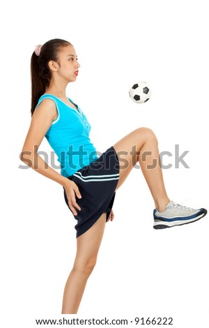 stock photo : girl soccer player warm up for the next game